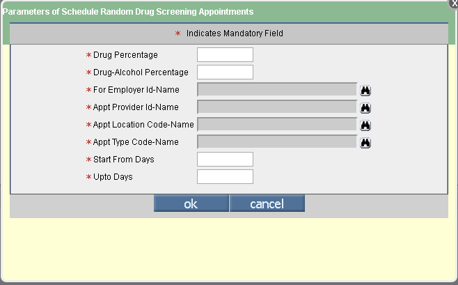 Drug Screen Parameters