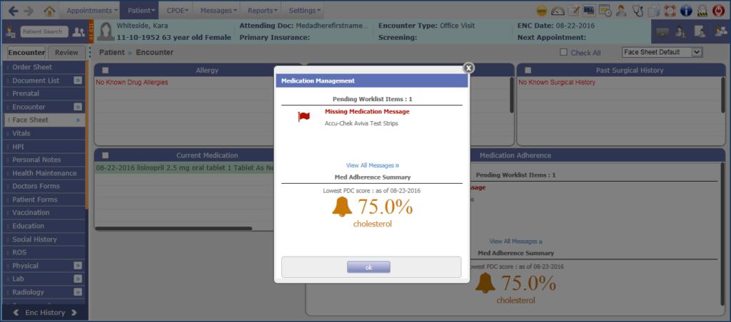 ehr software medical management Adherence alert