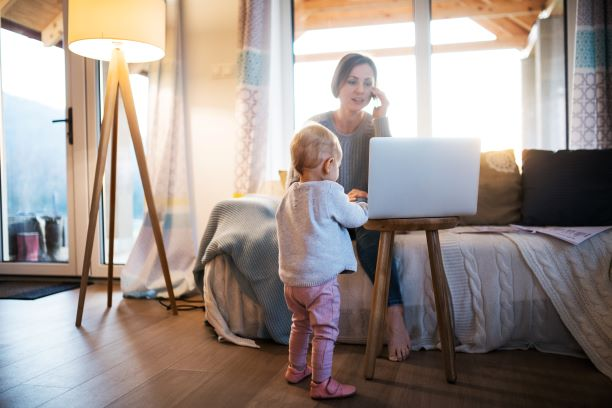 Young mother Using telehealth
