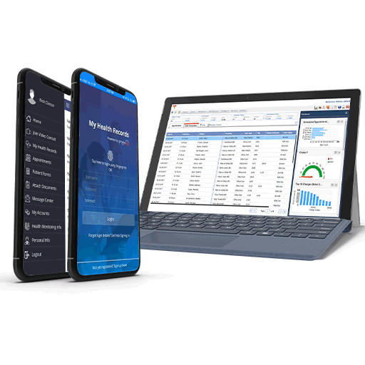 EHR Software dashboard on tablet and phone