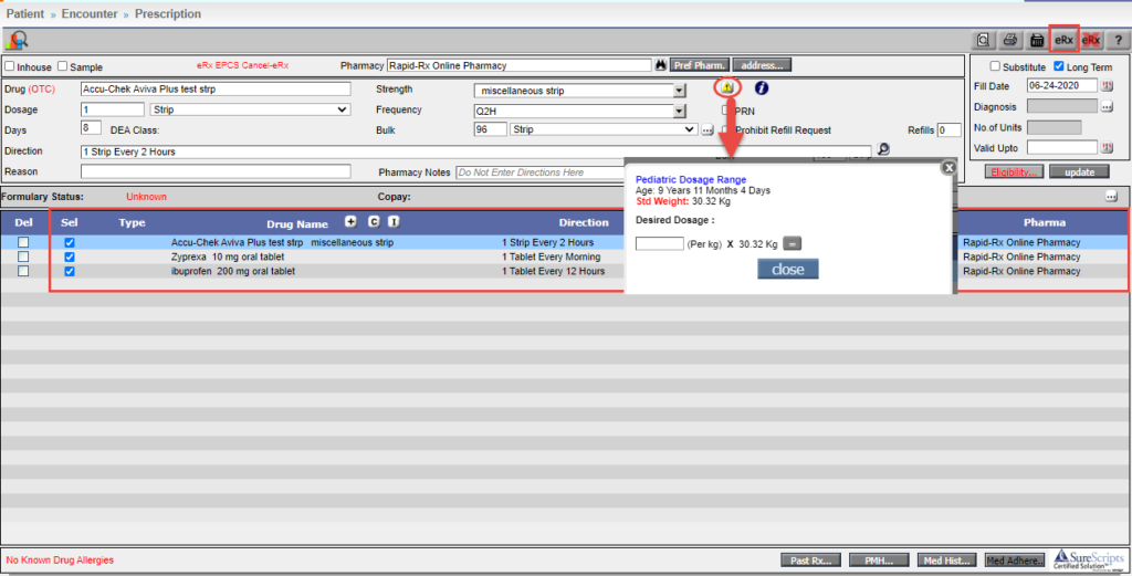 Prescription screen of Prognocis EHR software
