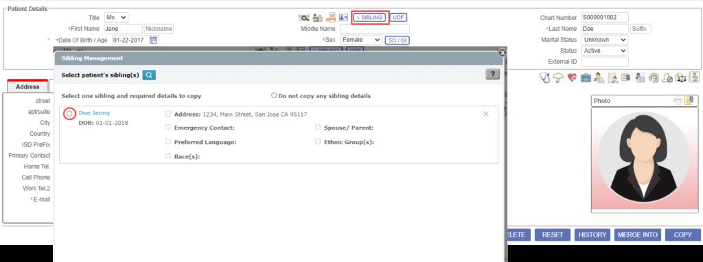 Sibling screen of PrognoCIS ehr software