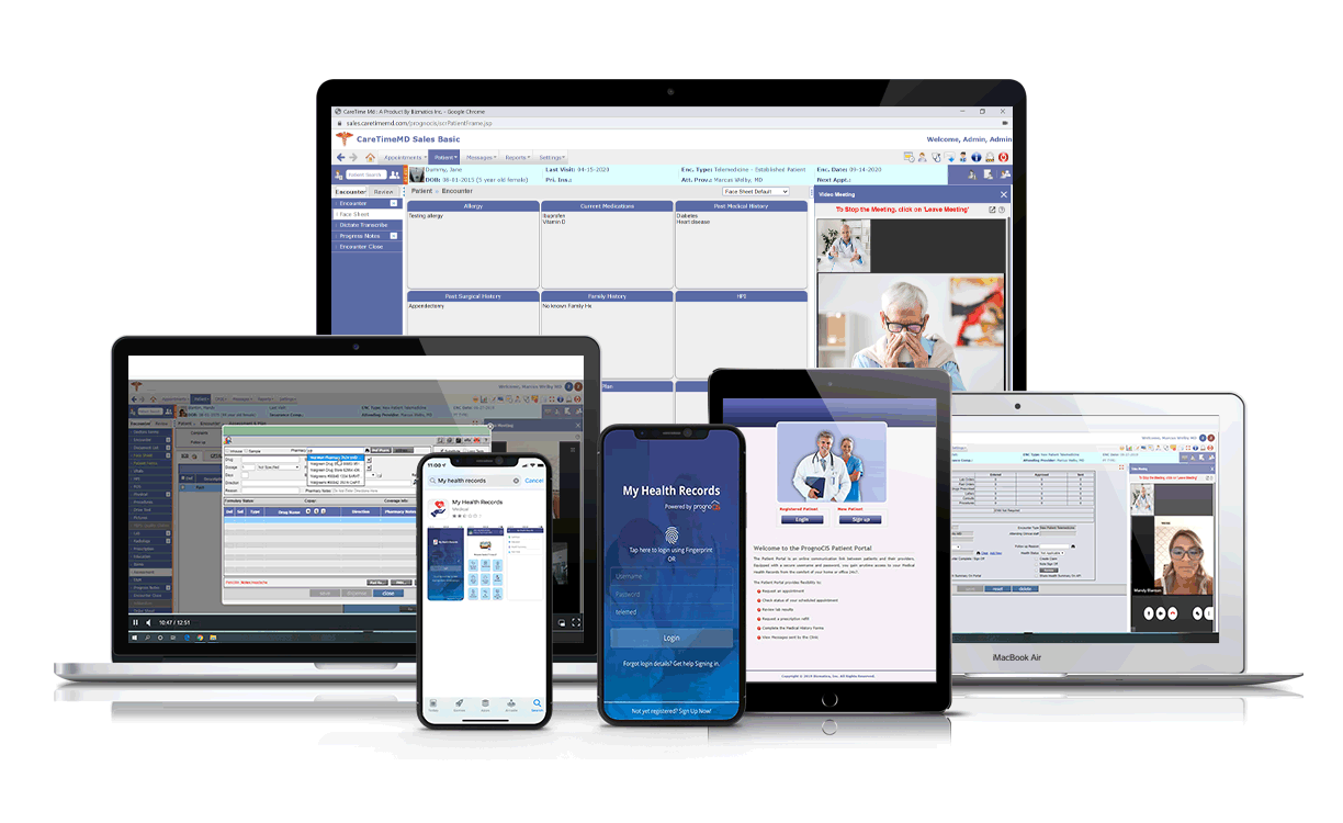 PrognoCIS EHR Software on Multiple Devices.