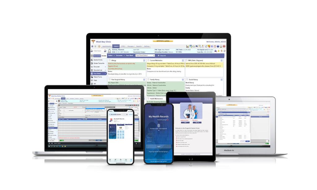 Prognocis EHR multi screen